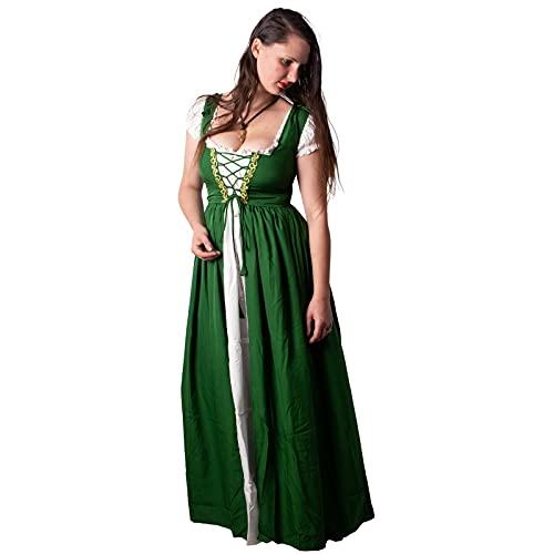 Mythrojan Traditional Irish Celtic Dress: Chemise & Over Dress Medieval Renaissance Costume SCA LARP Green