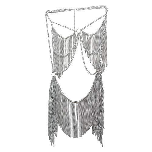 sharprepublic Quaste Kettenrock Bikini BH Badeanzug Für Nachtklub Partei Strand Verzierungen - Silber