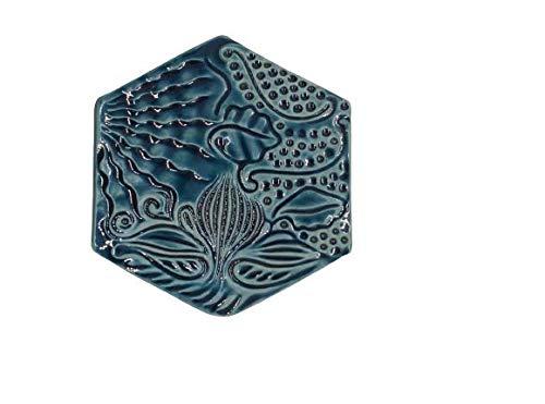 DataPrice Untersetzer Barcelona Gaudi 10 x 10 cm Farbe: Blau Keramik. zum Verschenken! Heimdekoration. (3)