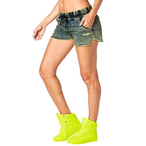 Zumba Fitness Get Wild Denim Pantalones Cortos Mujer Pantalones, Todo el año, Mujer, Color Zumba Green Denim Daze, tamaño Small