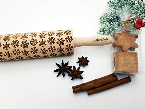 SNOWFLAKES Embossing Rolling Pin Laser engraved dough roller for Christmas gingerbread