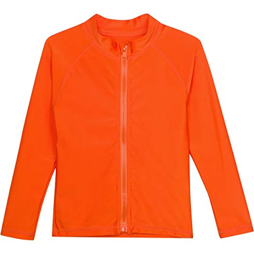 SwimZip Little Kids' Long Sleeve Zipper Rash Guard UPF 50+ Orange