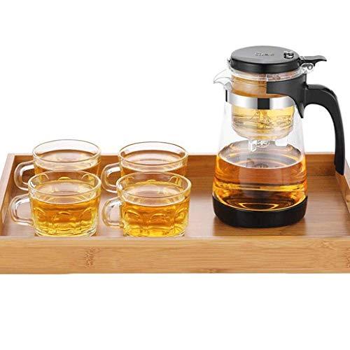 Peakfeng Tetera de Vidrio Resistente al Calor de la Caldera Puede ser removible y Lavable Filtro Tetera Interior Botella de Agua para el hogar 700 ml Taza de té (Color : B)