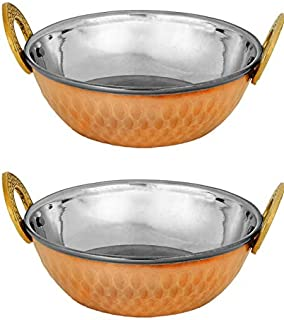 Zap Impex Indian Serving Bowl Copper Stainless Steel Hammered Karahi Indian Dishes Serveware for Vegetable and Curries (19 cm) Set of 2