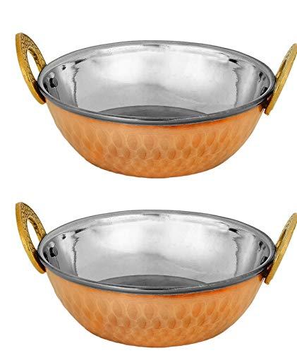 Zap Impex Indische Servierschale Kupfer Gehämmerter Edelstahl Karahi Indische Gerichte und Portion Curry (19 cm) 2er Set