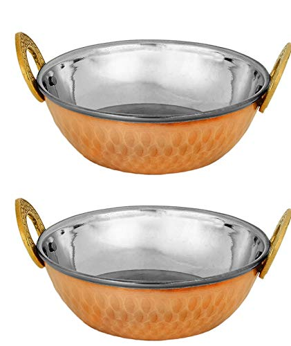Zap Impex Indian Copper Stainless Steel Hammered Karahi Indian Dishes.