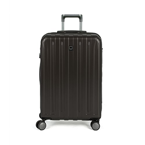 DELSEY Paris Titanium Hardside Expandable Luggage with Spinner Wheels, Black, Checked-Medium 25 Inch