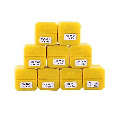 GUOSHUCHE Accesorios de torno Collet elástico, 9 piezas ER32 Spring Collet Set para máquina de grabado CNC y herramienta de torno de fresado herramientas de mano de 2-20 mm