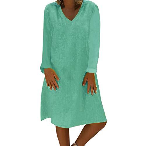 TWIFER T-Shirt-Kleider für Damen Plus Größen-Sommer-Beiläufiges Normallack-Langes Hemd(X5-Mint Grün,XXXL)