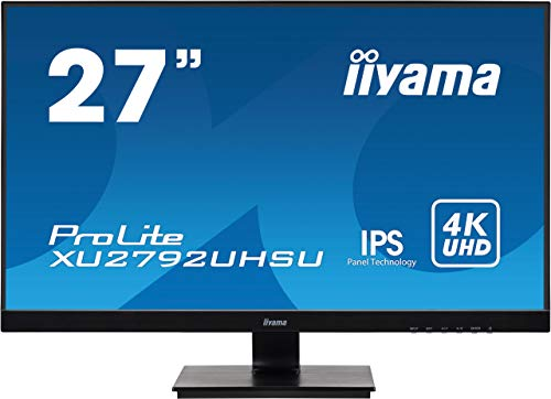 iiyama Prolite XU2792UHSU-B1 - Monitor LED (68,4 cm/27', IPS, 4K, UHD, DVI, HDMI, DisplayPort, 2 Puertos USB 3.0, Ultrafino), Color Negro