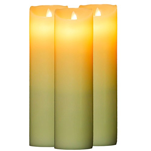 OxoxO Flameless Flickering LED Pillar Candles Realistic Dancing Light Battery Operated Flickering Real Wax Candle Set 9-Inch (Pack of 3)