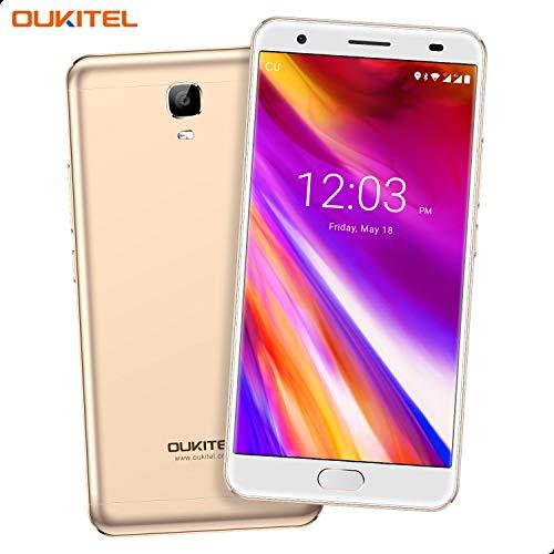 OUKITEL OK6000 Plus Unlocked Cell Phones, 5.5' FHD 6080mAh Big Battery Smartphones, 4GB RAM+64GB ROM Dual SIM Android 7.0 Octa Core Phones Fingerprint (Gold)