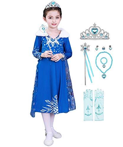 YOGLY ELSA und Anna Kleid 2 ELSA krönungskleid Prinzessin schneekönigin Kleid ELSA monissy Kleid schneekönigin kostüm 2 Erwachsene 2 Jahre 6 Jahre