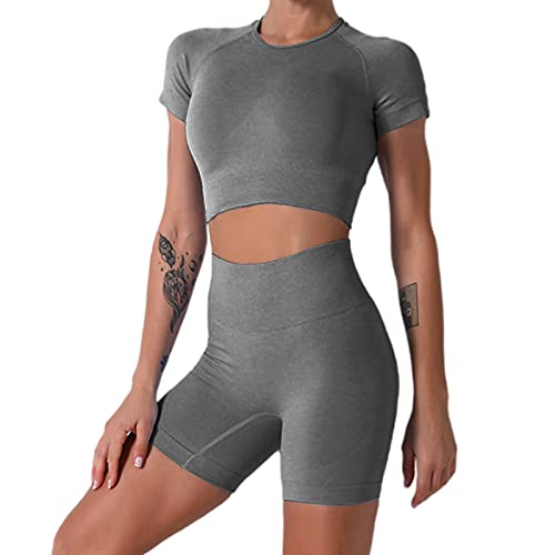 Nicytore Yoga Outfits for Women 2 Piece Set Tracksuit Seamless Short Sleeve Crop Top Workout Leggings Sportwear (Grey01, S) by