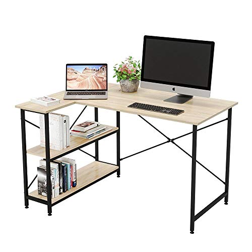 Bestier Small L-Shaped Desk with Storage Shelves 47 Inch Corner Desk with Shelves Writing Desk Table with Storage Tower Shelf Home Office Desk for Small Spaces P2 Wood (Oak, 47 Inch)
