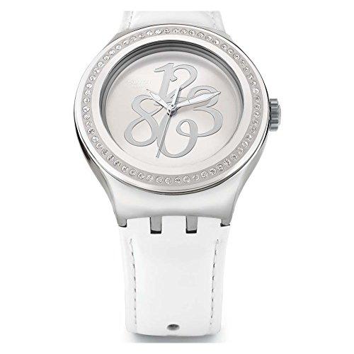 Swatch Irony Nabab - Reloj de Mujer de Cuarzo, Correa de Piel Color Blanco