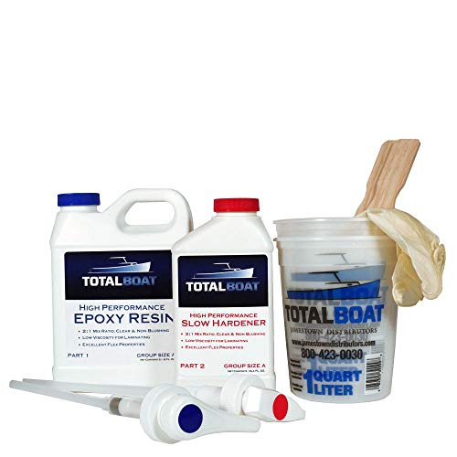 TotalBoat High Performance Epoxy Kit, Crystal Clear Marine Grade Resin and Hardener for Woodworking, Fiberglass and Wood Boat Building and Repair (Quart, Slow)