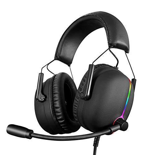 QWEDSA Headset Esports Headphone, écouteurs en métal Lumineux, Internet Cafe CEN à réduction de Bruit de blé Double, entraînement directionnel de 50MM, léger, Compatible avec de Nombreux équipements.