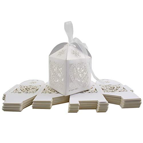 Hochzeit Süßigkeit Kästen, INTVN Herzförmige Schachtel Geschenkboxen Party Feier Weihnachten Hochzeit Gefallen, Weiß, 50 Stücke