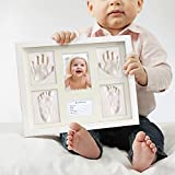 Baby Handprint Footprint Makers Keepsake Kit - Clay Hand Print Picture Frame for Newborn, Baby Shower Gifts, New Parents for Baby Registry, 13x11 inches