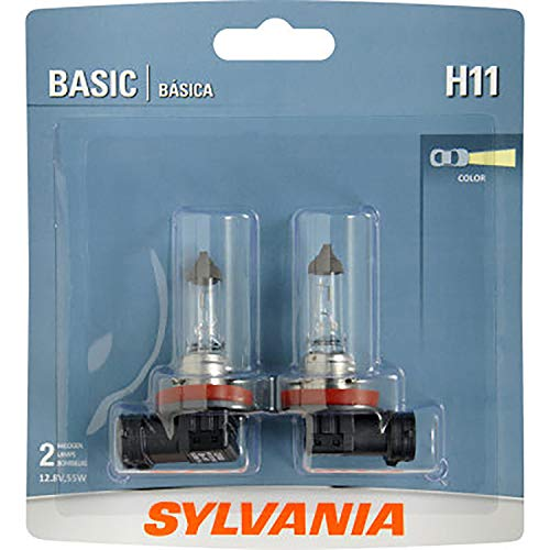SYLVANIA - H11 Basic - Halogen Bulb for Headlight, Fog, Daytime Running Lights, and Cornering Applications (Contains 2 Bulbs)