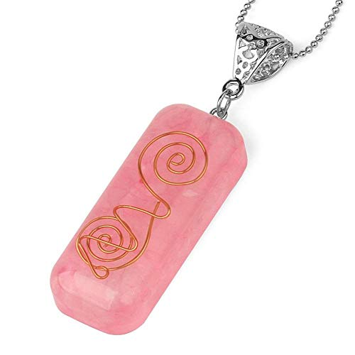 Stone Pendant Necklaces For Women,Handmade Wire Wrapped Natural Rectangle Gemstone Rose Quartz Pendant Necklace With Silver Chain Christmas Jewelry Gift For Women Men