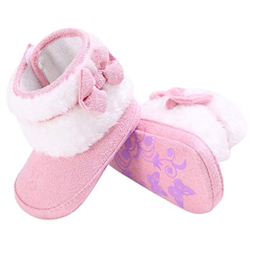 Snow Boots for Baby Girls Boys Keep Warm Soft Crib Shoes Fleece Outdoor Fur Lined Slippers Toddler Booties (6~12M, Pink)