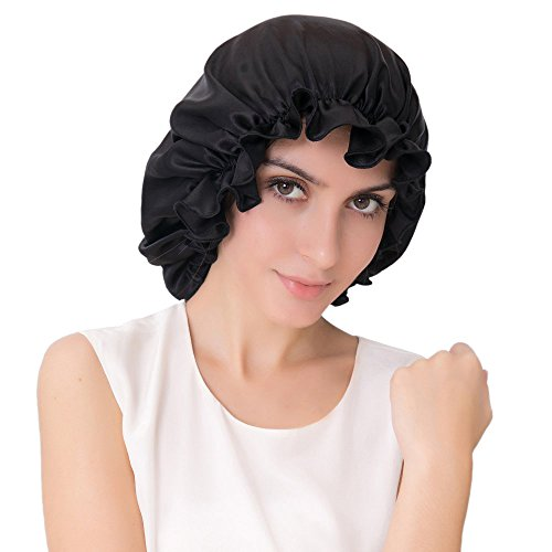 ALASKA BEAR - Natural Silk Sleep Night Cap Head Cover Bonnet for Hair Beauty, Large size Fits Most