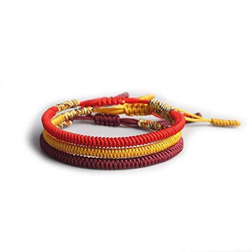 EXINOX Pulsera Tradicional Tibetana de Nudos | Hecha a Mano | Hombre Mujer | Espiritual Budista | Rojo Dorado Granate | 3 Piezas
