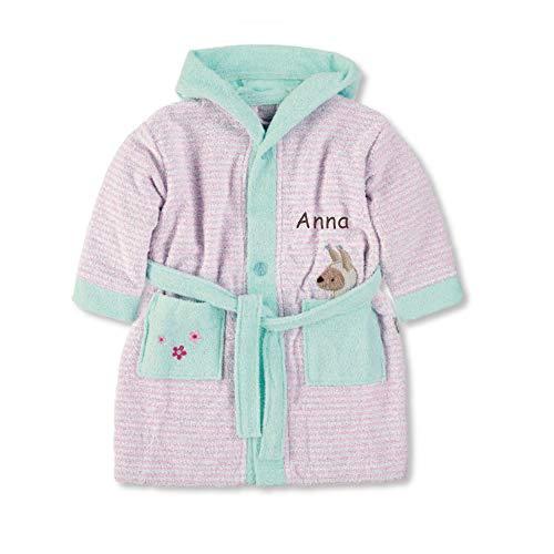 LALALO LALALO Sterntaler Lotte (Kuschelzoo) Bademantel Bestickt mit Namen für Baby & Kinder, 100% Baumwolle, Kinderbademantel personalisiert mit Name für Mädchen (Rosa), Serie 2019-98/104