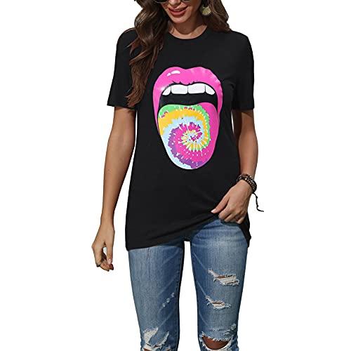 Jersey De Primavera Y Verano para Mujer, Camiseta De Manga Corta con Cuello Redondo, Camiseta Holgada con Estampado De Color SóLido para Mujer