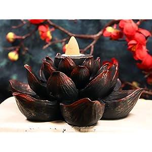 Ebros Buddha Padma Lotus Incense Stick and Backflow Cone Holder Burner Figurine Zen Feng Shui Mandala Buddhism Misting Fog Flower Blossoms Home Fragrance Decor