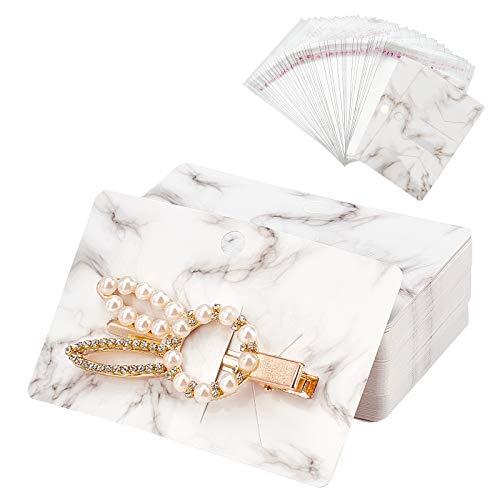 PandaHall 200 tarjetas de presentación rectangulares de papel de cartón para el pelo de 3,9 x 2,5 pulgadas, con bolsas de celofán OPP para accesorios de cabello, organización, color blanco humo