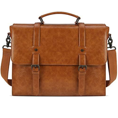 Leather Mens Messenger Bag Vintage 15.6 Inch Waterproof Leather Laptop Briefcase Large Satchel Shoulder Bag Retro Office College Computer Laptop Bag, Brown