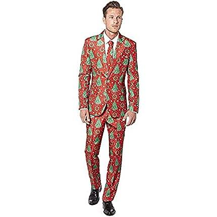 Suitmeister Men Suit Juego de Pantalones de Traje de Negocios, Christmas Trees, S para Hombre
