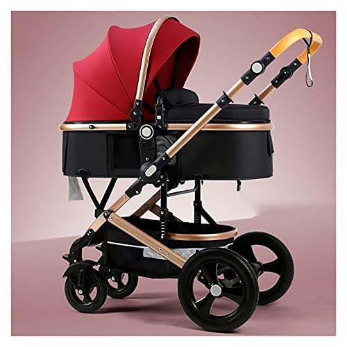 KHUY Baby Strollers Lightweight with Strollers Fan and Stroller Rain Cover, Toddler Baby Jogger Deluxe Pram Upgraded Infant Carriage Pushchair Stroller for Babys Boys and Boys (Color : Red)