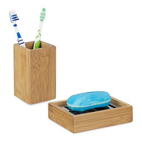 Relaxdays 2 TLG. Badutensilien-Set aus Bambus, Zahnputzbecher, Seifenablage mit Abtropfgitter, natürliches Design, Natur