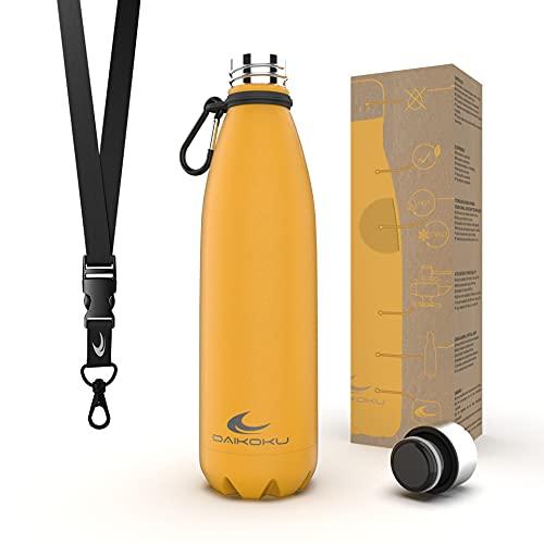 Daikoku Botella Acero Inoxidable + Cinta ajustable + Mosquetón + Anillo Silicona - Termo Doble Pared Libre de BPA - 12 Horas Caliente - 24 Horas Fría – Botella Reutilizable - 500ml - Color Amarillo