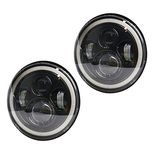 Ikunde 7 Inches Round LED Projector Headlight Halo Angel Eye Ring, White Amber Turn Signal Lights High Low Sealed Beam Headlamps for Wrangler JK