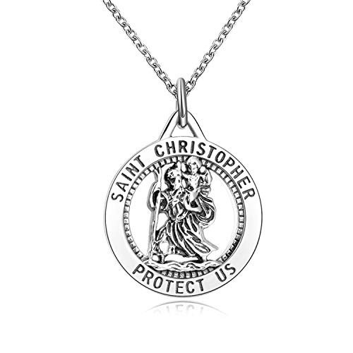 925 Sterling Silver Necklaces for Women,Saint Christopher Protect Us Coin Pendant Necklace Chain Jewellery Gifts For Women Girls Mum Daughter