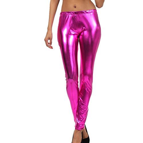 XLDD Damen Sexy Hot Pants Wetlook Lederhose Frauen Lackleder Stretch Skinny Leggings Damen High Waist Schwarz Kunstleder Hose Glossy Wetlook Lack Leder Clubwear Party L