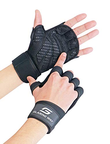 Glaring Way Weight Lifting Gloves with Built-in Wrist Wrap for Exercise, Full Palm Protection & Extra Grip Workout Gloves for Men&Women (X-Large)