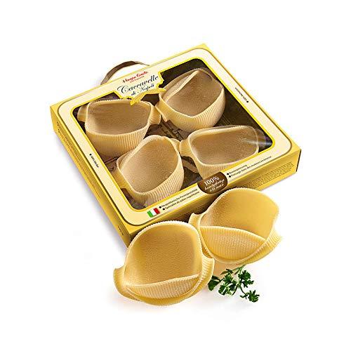 Hagen Grote Caccavelle, 8 Stück, 250 g, handgefertigte neapolitanische Pastamuscheln zum Füllen, ca. 12x9x4 cm, 200 ml Inhalt, aus reinem Hartweißengrieß, ideal für Gäste