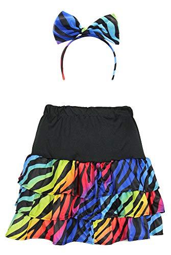 Foxxeo bunter 80er Jahre neon Rock und Haarschmuck für Damen Kostüm - Größe S-XXL - Fasching Karneval 80s, Größe:L