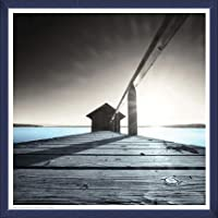 ポスター アーティスト不明 Old Boathouse 額装品 ウッドベーシックフレーム(ブルー)