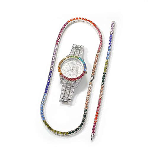 Bling-ed Out Bunte Full Diamond Uhren Iced Out 42mm Big Face Runde Quarz Kalender Armbanduhr, Hip Hop Männer Uhr Bunte CZ Tennis Armband Halskette Set