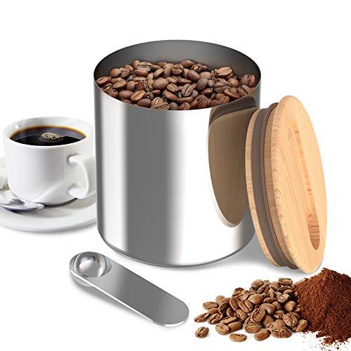 YUANJ Kaffeedose Luftdicht Edelstahl mit Löffel, Kaffeedosen mit Buche Abdeckung, Vorratsdose für Kaffeebohnen Tee Kakao Nüsse Kaffeepulver - 1000 ml (13 * 12 * 12 cm)
