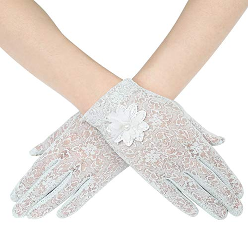 ArtiDeco Damen Lace Handschuhe Satin Braut Hochzeit Spitze Handschuhe Opera Fest Party Handschuhe 1920s Handschuhe Damen Kostüm Accessoires (Kurz Blume Grau)