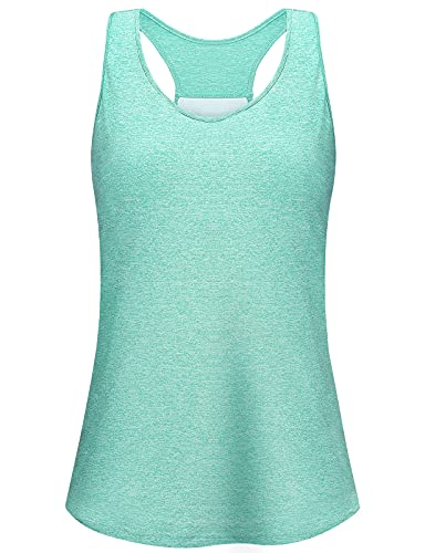 Misyula Style Yoga Tank Top for Women Camisole Padded Built-in Bra Plus Size Comfy Solid Sleeveless Round Neck Racerback Muscle Tank Loose Fitting Gym Clothes, Green 2XL