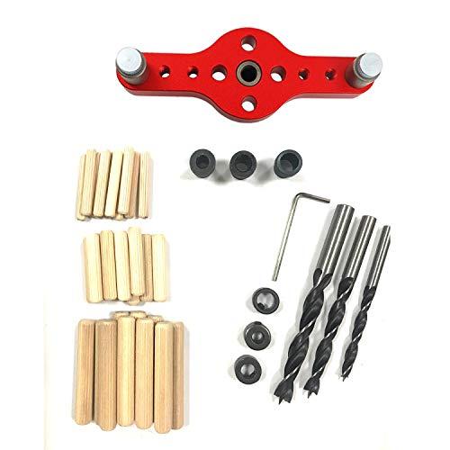 Localizador de punzón de 41 piezas, guía de perforación, duradero, fácil operación, superficie anodizada, punzonado auxiliar para carpintería confiable para centro de mecanizado, carpintero,Rojo